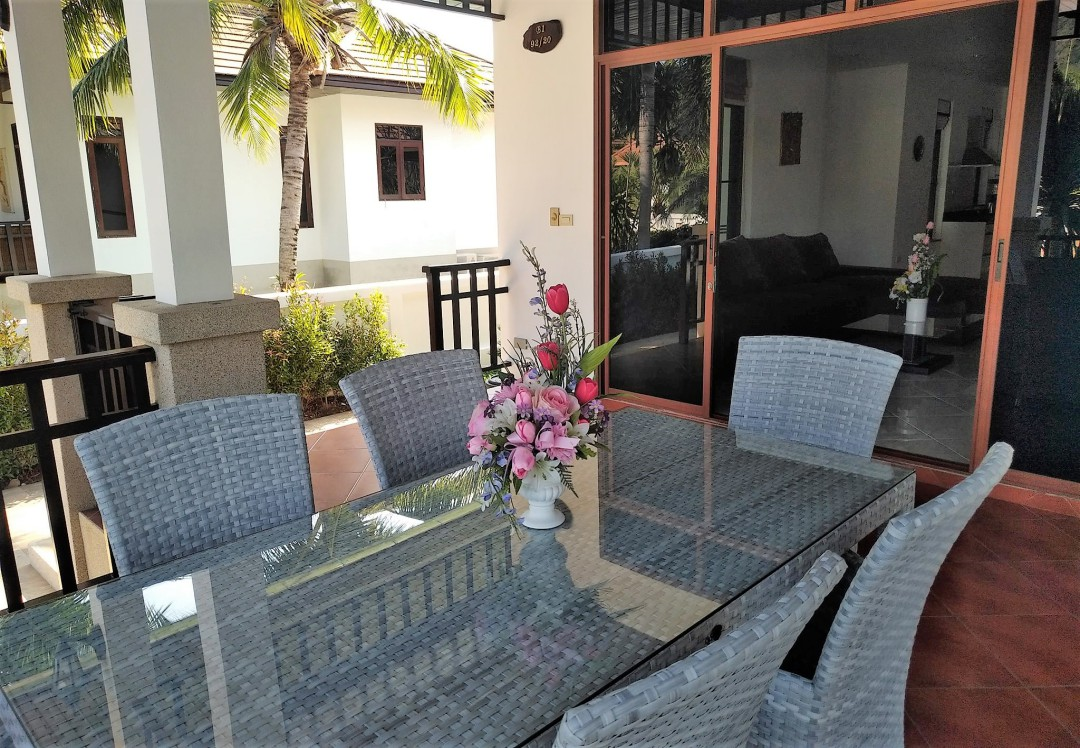 Outdoor dining terrace at Villa Busaba B1 Manora Village I in Hua Hin, Thailand