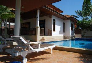 Exterior view of Villa Busaba B23 with pool in Manora village, Hua Hin, Thailand