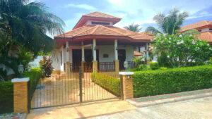 Front exterior façade of Villa Busaba B5 in Manora village, Hua Hin, Thailand