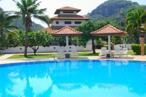 Exterior of luxury Villa Poisien c3 with pool in Manora Village, Hua Hin, Thailand