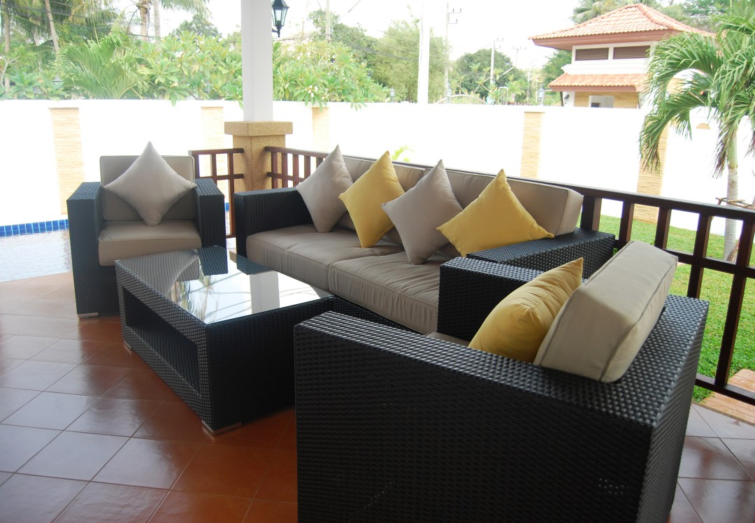 Terrace with dining and living area of Villa Selina, Hua Hin Thailand