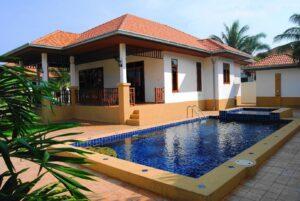 Exterior of Villa Selina D1 with pool in Manora Village III, Hua Hin, Thailand