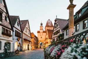 Quaint street in an old town in Germany